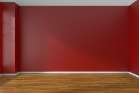 Empty room with red flat smooth walls and dark wooden parquet floor under sun light through window, 3D illustration