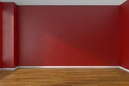 Lege ruimte met rode platte gladde muren en donkere houten parketvloer onder zonlicht door het raam, 3D illustratie