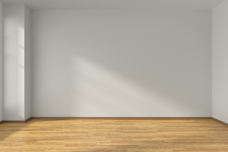 Lege ruimte met witte vlakke gladde wanden en houten parketvloer onder zonlicht door het raam, 3D illustratie