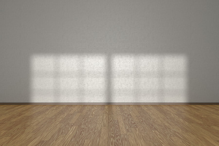 parquet floor: White wall of empty room with wooden parquet floor under sun light through window, 3D illustration Stock Photo