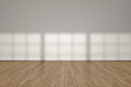 3 D イラストレーションの窓から光の太陽の下で木のフローリングと空の部屋の白い壁