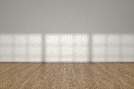 White wall of empty room with wooden parquet floor under sun light through windows, 3D illustration Stock Photo
