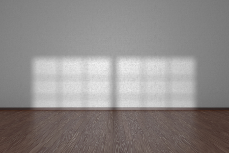 parquet floor: White wall of empty room with dark wooden parquet floor under sun light through window, 3D illustration