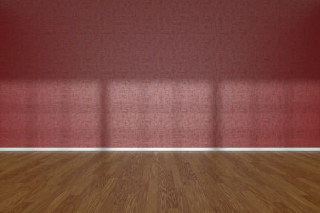 parquet floor: Red wall of empty room with wooden parquet floor under sun light through windows, 3D illustration