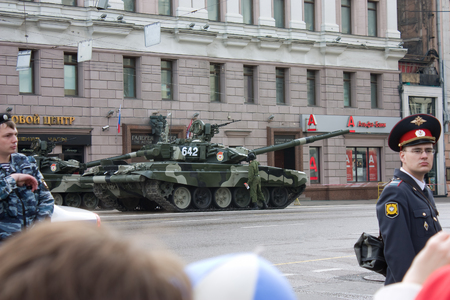 festivities: MOSCOW, RUSSIA - MAY 9, 2010: T-90 tank prepared on Tverskaya street for parade festivities devoted to 65th anniversary of Victory Day on May 9, 2010 in Moscow. Editorial