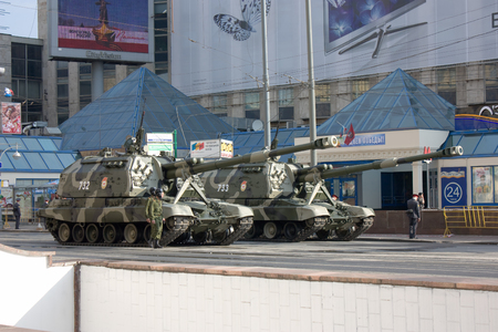 festivities: MOSCOW, RUSSIA - MAY 9, 2010: 2S19 Msta-S self-propelled 152 mm howitzer prepared on Tverskaya street for parade festivities devoted to 65th anniversary of Victory Day on May 9, 2010 in Moscow.