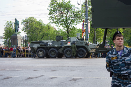 festivities: MOSCOW, RUSSIA - MAY 9, 2010: BTR-80 prepared on Tverskaya street for parade festivities devoted to 65th anniversary of Victory Day on May 9, 2010 in Moscow. Editorial