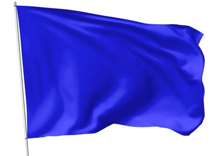 Blauwe vlag op vlaggenmast vliegen in de wind geïsoleerd op wit, 3d illustratie Stockfoto