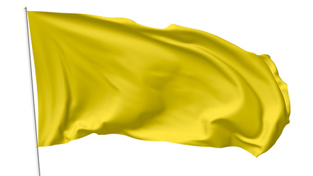 flagpole: Yellow flag on flagpole flying in the wind isolated on white, 3d illustration