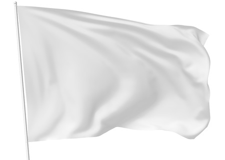 to white: White flag on flagpole flying in the wind isolated on white, 3d illustration