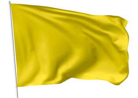 Yellow flag on flagpole flying in the wind isolated on white, 3d illustration