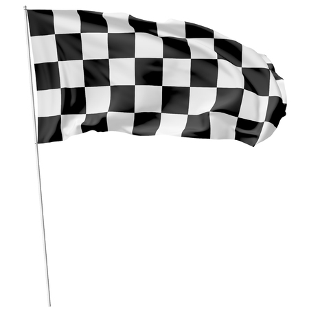 flagpole: Checkered flag on long flagpole flying in the wind isolated on white, 3d illustration