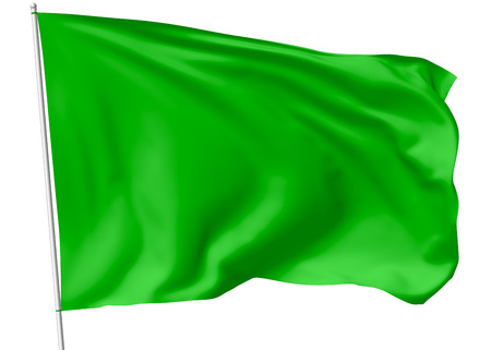 Green flag on flagpole flying in the wind isolated on white, 3d illustration