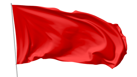 Red flag on flagpole flying in the wind isolated on white, 3d illustration