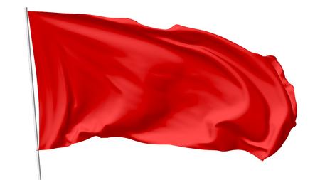 Rode vlag op vlaggenmast vliegen in de wind geïsoleerd op wit, 3d illustratie Stockfoto