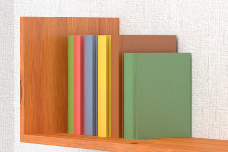 Gekleurde Boeken Op Houten Boekenrek Op Witte Muur 3d Illustratie