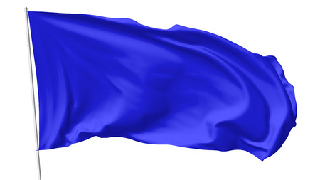 flag banner: Blue flag on flagpole flying in the wind isolated on white, 3d illustration