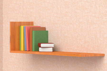 wallpaper pink: Colored books on wooden bookshelf on the wall with pink wallpaper 3D illustration Foto de archivo