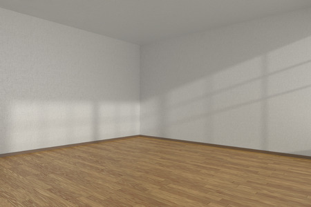 parquet floor: White empty room corner with wooden parquet floor under sun light through windows, 3D illustration