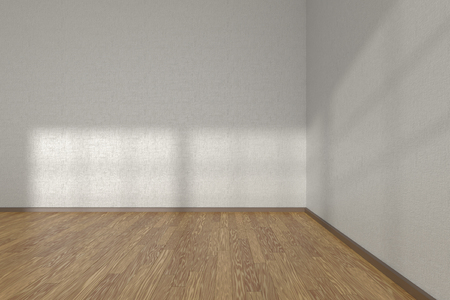 flooring design: Corner of white empty room with wooden parquet floor under sun light through windows, 3D illustration
