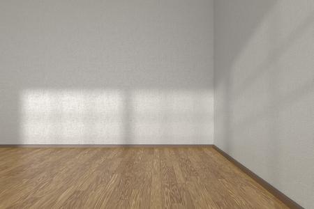 Corner of white empty room with wooden parquet floor under sun light through windows, 3D illustration