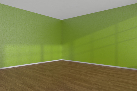 Green empty room corner with wooden parquet floor under sun light through windows, 3D illustration