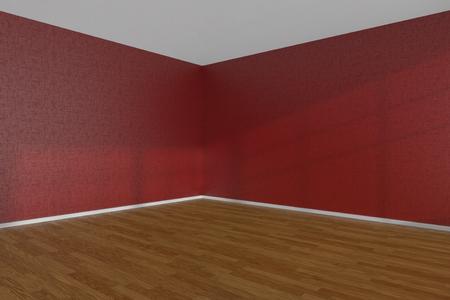wooden floor: Red empty room corner with wooden parquet floor under sun light through windows, 3D illustration