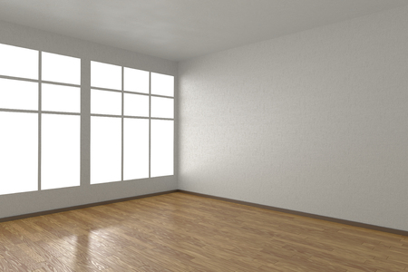 parquet floor: Corner of white empty room with windows and wooden parquet floor, 3D illustration Stock Photo