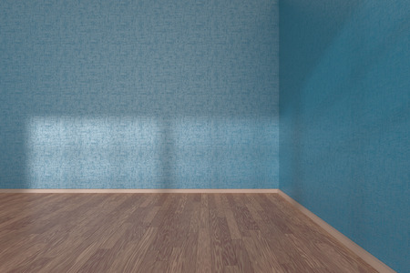 parquet floor: Corner of blue empty room with wooden parquet floor under sun light through windows, 3D illustration Stock Photo