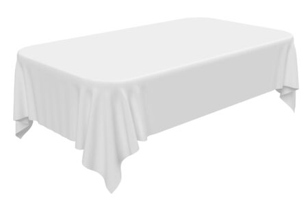 rounded: White rectangular rounded tablecloth isolated on white, 3d illustration