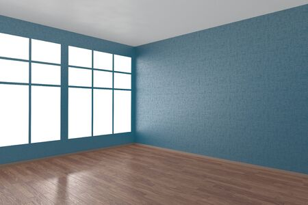 flooring: Corner of blue empty room with windows and wooden parquet floor, 3D illustration