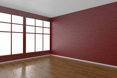 living room design: Corner of red empty room with windows and wooden parquet floor, 3D illustration