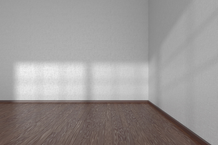 parquet floor: Corner of white empty room with dark wooden parquet floor under sun light through windows, 3D illustration