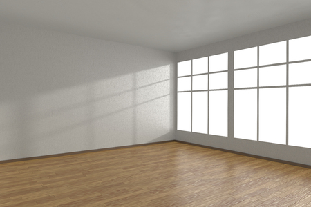 parquet floor: Corner of white empty room with large windows and wooden parquet floor, 3D illustration