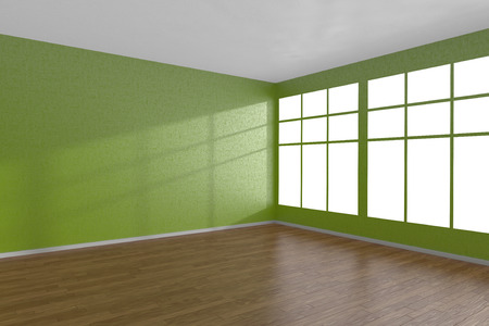 Corner of green empty room with large windows and wooden parquet floor, 3D illustration
