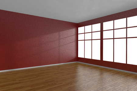 parquet floor: Corner of red empty room with large windows and wooden parquet floor, 3D illustration Stock Photo