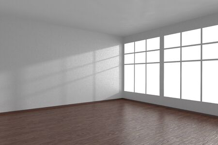 parquet floor: Corner of white empty room with large windows and dark wooden parquet floor, 3D illustration Stock Photo