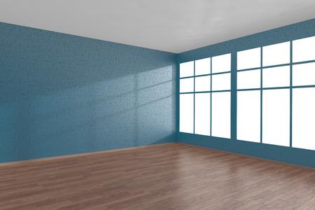 wooden floor: Corner of blue empty room with large windows and wooden parquet floor, 3D illustration