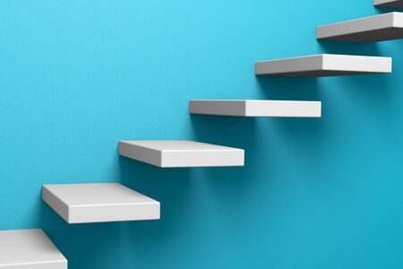 ascending: Ascending stairs on the blue rough wall 3D illustration