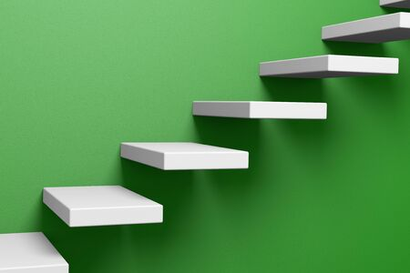 ascending: Ascending stairs on the green rough wall 3D illustration Stock Photo