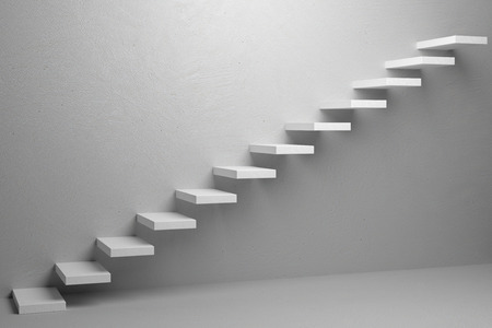 the way forward: Business rise, forward achievement, progress way, success and hope creative concept: Ascending stairs of rising staircase in white empty room 3d illustration Stock Photo