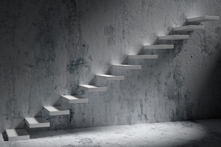 ascending: Business rise, forward achievement, progress way, success and hope creative concept: Ascending stairs of rising staircase in dark rough empty room with light 3d illustration Stock Photo