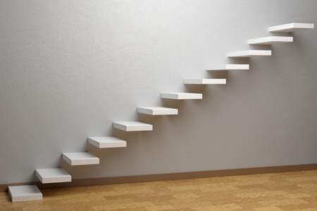 ascending: Business rise, forward achievement, progress way, success and hope creative concept: Ascending stairs of rising staircase in empty room with parquet floor and plinth 3d illustration