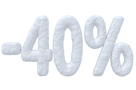 cut off: Winter retail, sale, commercial and business advertisement creative abstract concept, christmas sale discount offer, snowy special 40 percent price cut off text made of snow isolated on white. Stock Photo