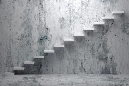 liderazgo empresarial: aumento de negocios, logro hacia adelante, forma el progreso, el éxito y la esperanza creativa concepto: Ascendente escaleras de escalera ascendente en bruto cuarto vacío oscuro con piso de concreto y muro de hormigón 3d