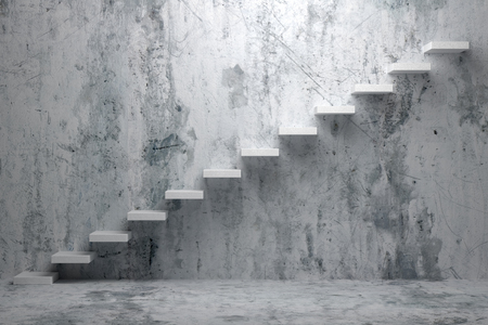 Business rise, forward achievement, progress way, success and hope creative concept: Ascending stairs of rising staircase in rough dark empty room with concrete floor and concrete wall 3d illustration