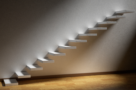 ascending: Business rise, forward achievement, progress way, success and hope creative concept: Ascending stairs of rising staircase in dark empty room with light with parquet floor and plinth 3d illustration