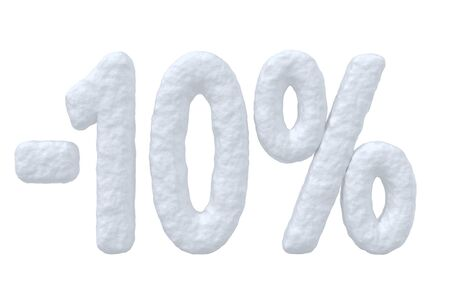 price cut: Winter retail, sale, commercial and business advertisement creative abstract concept, christmas sale discount offer, snowy special 10 percent price cut off text made of snow isolated on white