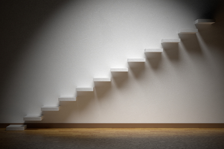 ascending: Business rise, forward achievement, progress way, success and hope creative concept: Ascending stairs of rising staircase in dark empty room with spot light with parquet floor and plinth, 3d illustration
