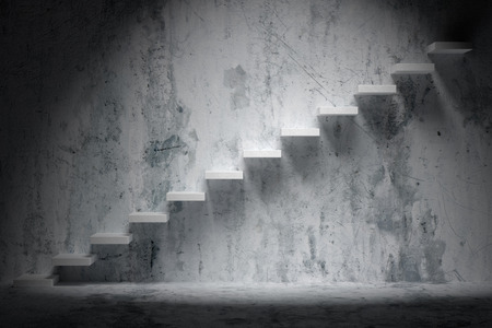 upward climb: Business rise, forward achievement, progress way, success and hope creative concept: Ascending stairs of rising staircase in rough dark empty room with spot light with concrete floor and wall 3d illustration Stock Photo